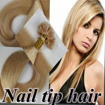 "Keratin Nail Stick Nail Tip Natural Hair Extensions Straight 100s/set Color 0.8g/s 80g Free Shipping pre bonded hair 18""2022"""