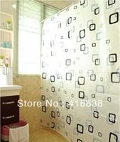 Free Shipping-High quality PEVA 180cmx180cm thickening small black plaid bathroom curtain Shower curtain with metal buckle