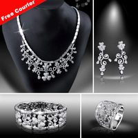Free Courier AAA Cubic Zircon Micro Setting Bridal Jewelry Set Necklace + Bracelet + Earring + Ring Boutique DC1989
