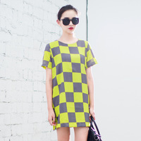zd03062 New Arrive Fashion Checkers Neon Color Women Mini Dress, Quality Certificated All Season Casual Dresses Wear