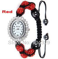 Free Shipping! Bright Red Diamante Disco Balls Women's Watch Shamballa Bracelet Watch, Gift Battery