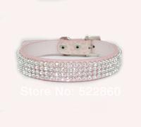 Free Shipping Croc Dog Cat Rhinestone Collars Crystal Diamond Pet Dog Puppy Pu Leather Collars 3 Color 3 Size