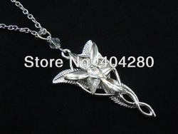 Freeshipping wholesale 10pc a lot Platinum plated The Arwen Evenstar Pendant Crystal stones Necklace from Lord of ring JA03(China (Mainland))