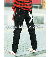 Good quality 2013 men's clothing spring fashion punk hyper tapered small pull style casual pants 601