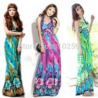 786 free shipping 2014 summer womens new fashion bohemian 4 colors tulip long maxi beach dress ladies girl v neck halter dresses