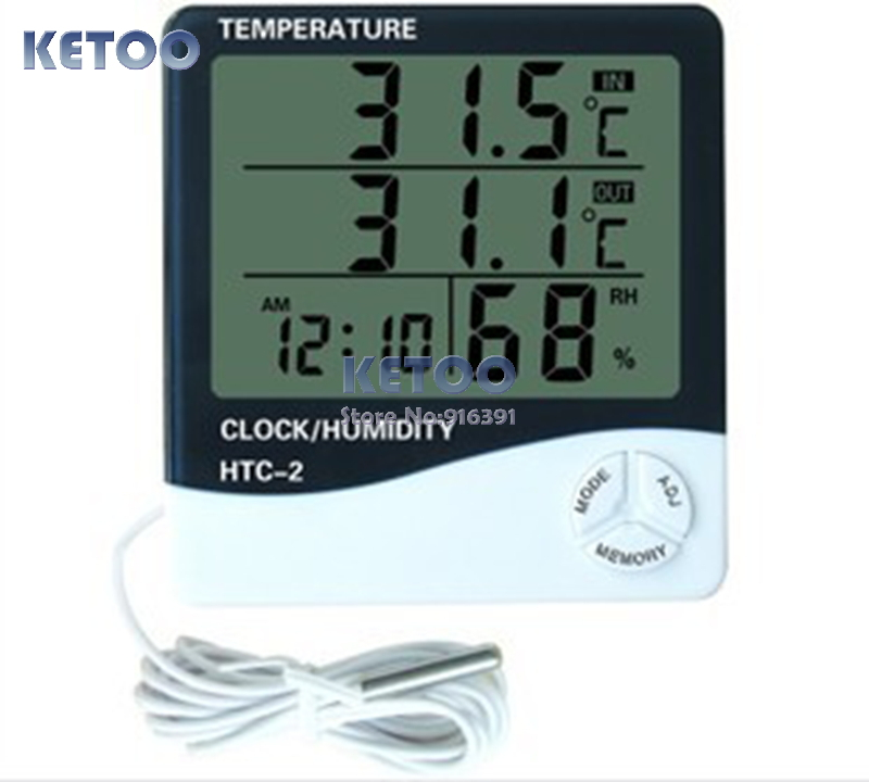 Digital LCD Temperature Thermometer Humidity Meter Clock + 1m external probe,household indoor and outdoor used Free shipping(China (Mainland))