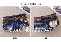 Free shipping 2015 summer shortts wearing white ripped denim shorts women with zipper decoration new jeans shorts pattern girls
