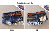 Free shipping 2014 summer shortts wearing white ripped denim shorts women with zipper decoration new jeans shorts pattern girls