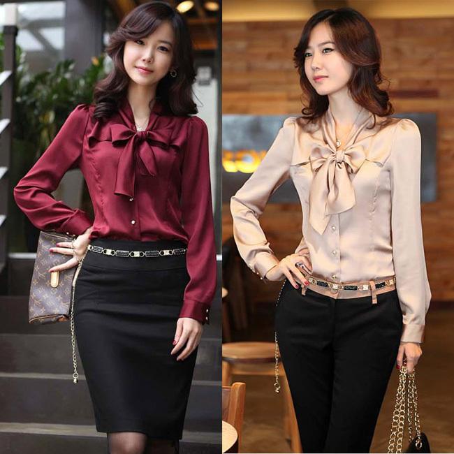 Fashion Varabow Design Formal Wear 2014 New Office Lady Chiffon Blouse Size S-3XL Good Quality Charm Women Dress Shirt(China (Mainland))