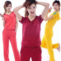 T-hirt trousers women's casual sportswear set Women summer casual 100% cotton set