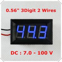 """Digital Voltmeter DC 7-100V 0.56"""" Two Wires Electric bicycile car Car voltage Panel Meter LED Display Color: Blue[ 4 pcs / lot]"""