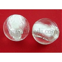 Handmade Silver Foil Glass Beads,  Round,  White,  about 10mm in diameter,  hole: 1.5~2mm