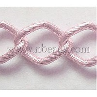 Twist Rhombus Aluminum Chain,  Oxidated in Pink,  Link:23.5x17.5mm