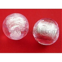 most wanted items Handmade Silver Foil Glass Beads,  Round,  Pink,  about 10mm in diameter,  hole: 1.5~2mm