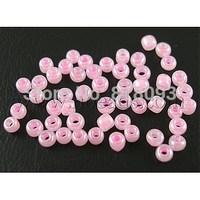 12/0 Glass Seed Beads,  Ceylon Round,  Pink,  2mm; about 30000pcs/pound
