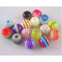 most wanted items Resin Beads,  Round,  Lined,  Mixed Color,  about 8mm in diameter,  hole: 2mm