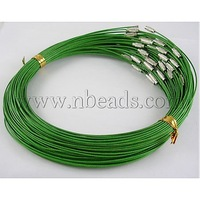 "Steel Wire Necklace Cord,  with Brass Screw Clasps,  Nickel Free,  Deep Green,  Size: 17.5"" long,  Wire: about 1mm in diameter"