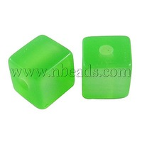 Closeout Resin Beads,  Imitation Cat Eye,  Cube,  LawnGreen,  about 8mm wide,  8mm long,  8mm high,  hole: 1.5mm