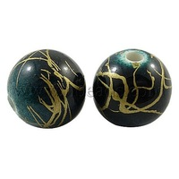 Round Drawbench Acrylic Beads with Gold Swirls,  Black/ Bule,  about 6mm in diameter,  hole: 2.5mm,  4100pcs/500g
