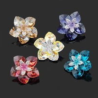 Free Shipping NEOGLORY accessories heart flower brooch made with SWA ELEMENTS crystal rhinestone jewelry for female xge8413
