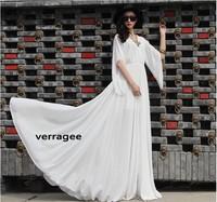 verragee Autumn Flare Sleeve Plus Size Dress Chiffon Long Maxi Princess Dress Party Evening Dress Women Summer Casual Dress 2014
