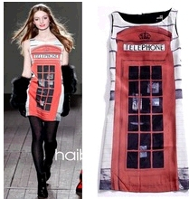 3 sizes Runway Love London Telephone Booth Doodle Loose Dress sleeveless dress 2012 new /phone booth dress153