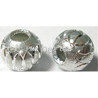 Aluminum Beads,  Round,  Silver,  8mm,  hole: about 3.2mm