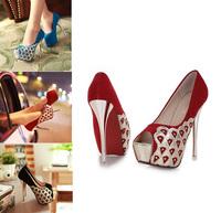 2014  women pumps red bottoms sexy women pumps red bottoms peep toe platform High Heel Sandals Open Toe Shoes Scales heels