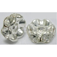 Stock Deals Brass Rhinestone Beads,  Grade B,  Clear,  Silver Metal Color,  Size: about 8mm in diameter