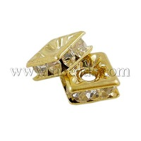 Stock Deals Brass Rhinestone Beads,  Grade A,  Square,  Nickel Free,  White,  Golden Metal Color,  Size: about 6mmx6mmx3mm