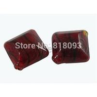 Handmade Blown Glass Beads,  rhombus,  DarkRed,  about 22mm wide,  22mm long,  hole: 2mm