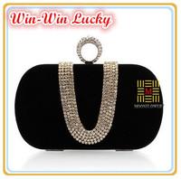 Hot Style Women's Velvet Handbag. U-shaped Diamond Ring Bridal Clutch Purse. Fashion Long Chain Tote Messenger Evening Bag