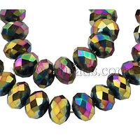 Stock Deals Electroplate Glass Beads Strands,  Faceted,  Abacus,  Multi-color Plated,  8x6mm,  Hole: 1mm; about 72pcs/strand