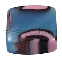 Resin Beads,  Square,  Blue,  about 23.5mm long,  23.5mm wide,  12mm thick,  hole: 2.5mm
