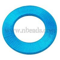Closeout Handmade Woven Beads,  Wood Bead covered with Fiber,  Ring,  DeepSkyBlue,  Size: about 47mm in diameter,  4mm thick