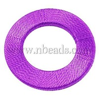 Closeout Handmade Woven Beads,  Wood Bead covered with Fiber,  Ring,  DarkOrchid,  Size: about 47mm in diameter,  4mm thick