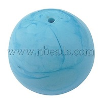 Handmade Lampwork Beads,  Round,  LightSkyBlue,  about 26mm in diameter,  hole: 2mm