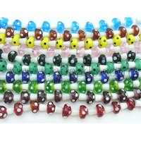 Handmade Lampwork Beads Strands,  Mushroom,  Mixed Color,  about 15mm wide,  18~19mm long,  hole: 2.5mm; about 20 pcs/strand