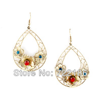 Vintage fashion hollow-out rhinestone flower water drop earrings