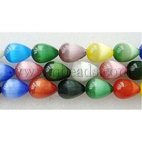 most wanted items Cat Eye Beads Strands,  Drop,  Mixed Color,  about 10mm wide,  14mm long,  hole: 1mm,  about 28pcs/strand