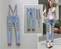 New women's Korean version Jeans Frayed hole Sticking cloth Self-cultivation Skinny Straps Pants
