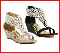 Free shipping 2014 new summer fashion  pearl beaded rhinestone women sandal gladiator sexy wedge sandals flip flop women shoes