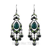 Green Created Crystal Tassel Vintage Long Drop Earrings Women 2014 New Design Wholesale