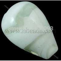Handmade Lampwork Beads,  Drop,  White,  16mm wide,  21mm long,  hole: 2mm