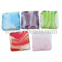 Stock Deals Handmade Lampwork Beads,  Square,  Mixed Color,  12mm wide,  12mm long,  hole: 2mm
