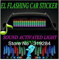 90x25 Genuine High Quality Equalizer Sound Active flashing EL car Sticker 5colors Car Music Rhythm Lamp free shipping