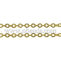 Brass Chain,  Golden Color,  Link: about 3.5mm long,  3mm wide,   0.5mm Thick,  92m/Roll