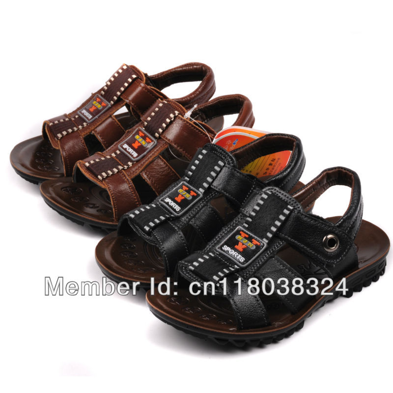 Free shipping New 2013 high quality real genuie soft leather big children boy summer sandals shoe kids footwear student shoe(China (Mainland))