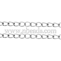 Stock Deals Iron Side Twist Chain,  Lead Free,  Platinum Color,  Come On Reel,  Size: Chain: about 6mm long,  4mm wide