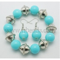 Glass Jewelry Sets,  Bracelet and Earring,  with CCB Acrylic Beads,  Cyan
